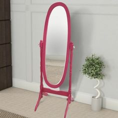 Oval Shape Cheval Floor Mirror with Wooden Support and Crystal Knobs, Fuchsia Pink - By Casagear Home Best Bathroom Paint Colors, Bathroom Color Schemes, Orange Paint Colors, Wall Colors, Tiny Powder Rooms, Painting Bathroom Cabinets, Stand Alone Tub, Taupe Walls, Kid Bathroom Decor
