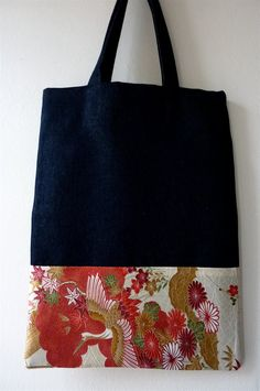 Flying Cranes Tsuru and Plum Blossoms Ume Design Tiny Tote Drawstring Pouch Japanese Asian Fabric Blue