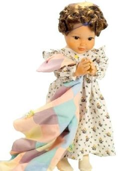 """A Life of Faith Kathleen's Nightgown Ensemble Very Detailed. Comes with nightgown, blanket an socks. Comes in plastic hanging bag. Fits 18 3/4"""" A Life of Faith Dolls."""