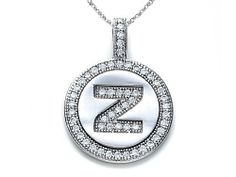 """Zoe R(tm) Sterling Silver Micro Pave Hand Set Cubic Zirconia (CZ) Letter """"Z"""" Initial Disc Pendant Zoe R. $29.99. Free Jewerly Box. Free Chain in a matching metal will be included. Guaranteed Authentic from the Zoe R designer line. Save 50% Off!"""