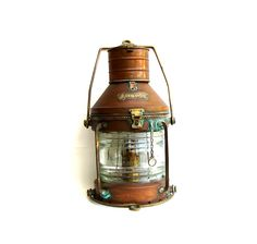 Vintage Ships Lantern Nautical Anchor Large Copper Brass Maritime Oil Lamp