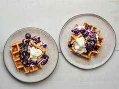 Get Waffles with Blueberry Compote and Lemon Ricotta Cream Recipe from Food Network