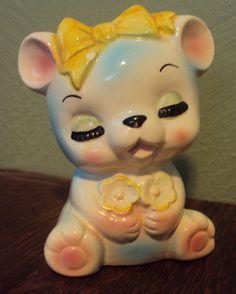 Ceramic Lady Bear Planter by Grandmothershelves on Etsy