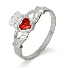 Sterling Silver Ruby CZ Claddagh Ring  $28