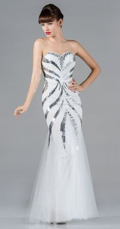 High End White Formal Gown Sequin/Lace Long Dress Tulle Mermaid $298.99