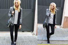 Get this look: http://lb.nu/look/3154981  More looks by Estefania Ainoza: http://lb.nu/vintageprocess  Items in this look:  Topshop Hat, Blanco Blazer, Topshop Trousers, Satorisan Sneakers