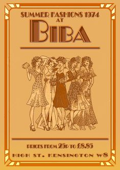 1974 Summer Fashions at Biba mounted photo print Biba Fashion, 60s And 70s Fashion, Fashion Prints, Retro Fashion, Vintage Fashion, Vintage Style, Biba Clothing, Vintage Clothing, 1970s Looks