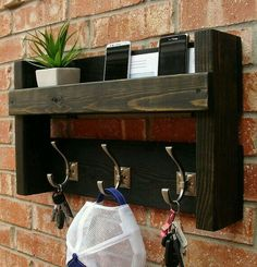 Rustic Mail Organizer Shelf with Magazine Rack and Coat Hooks Rustic Entryway Foyer 3 Hanger Hook Coat Rack + Mail Holder Phone Key Organizer Decor, Home Diy, Pallet Diy, Wooden Projects, Diy Furniture, Shelves, Home Decor, Rustic Home Decor, Rustic Entryway