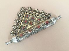 Tekke-Turkmen vintage ethnic tribal silver pendant fire gilded with cornalian