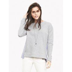 Banana Republic Womens Poplin Back Sweatshirt Size XS - Heather gray ($50) ❤ liked on Polyvore featuring tops, hoodies, sweatshirts, long sleeve tops, long sleeve sweatshirt, crew neck sweat shirt, poplin top and heather grey sweatshirt