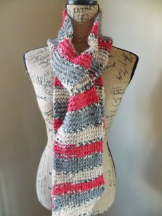 Red, Gray and Black striped scarf, alpaca and wool knit, fall scarf, winter scarf, classic colors scarf, cozy scarf, hand knit, ombre stripe by cheshirecatmad on Etsy https://www.etsy.com/listing/170039718/red-gray-and-black-striped-scarf-alpaca