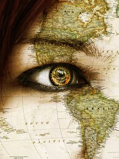 Hair=ocean eye=clock face=have map eyebrow=mountains lash-line=waterfall w/ tear lashes=splashes of water
