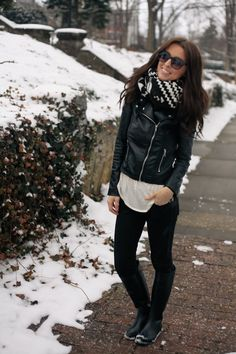 Hunter boots, leggings, leather, scarf.