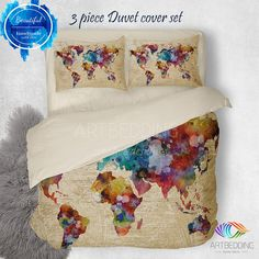 Vintage world map bedding 1626 antique map of north and south watercolor world map bedding boho map duvet cover set abstract map comforter set gumiabroncs Choice Image
