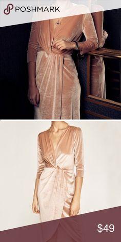 NWT Zara Crossover Velvet Dress Velvet crossover neckline and knot detail at waist 3/4 sleeve. NWT. Zara Dresses