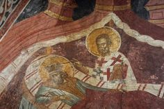 St. Nicholas appearing to St. Constantine the Great in his dreams, fresco from Decani Monastery