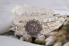 Romantic lace, pearl and vintage original - by the Lucky Sixpence