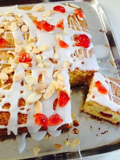Jo's Blue AGA: Cherry and Marzipan Traybake
