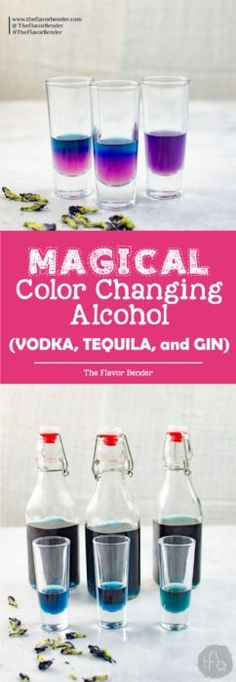 Magical Color Changing Alcohol (Vodka, Gin and Tequila) - wow your friends and family at your next get-together by making color changing magic cocktails with naturally infused color changing alcohol with one (not so) secret ingredient! Fun Cocktails, Party Drinks, Cocktail Drinks, Fun Drinks, Yummy Drinks, Cocktail Recipes, Drink Recipes, Disney Drinks, Alcohol Recipes