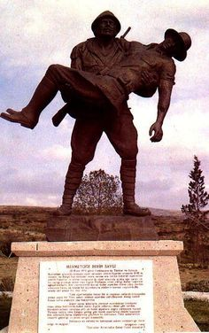 A turkish soldier help's a wounded anzac soldier- this is a very powerful image. These soldier's were fighting AGAINST each other.