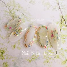 Pin by Lily Okamoto on Nails in 2019 Cute Nails, Pretty Nails, My Nails, Bridal Nails, Wedding Nails, Kawaii Nails, Japanese Nail Art, Fabulous Nails, Flower Nails