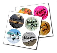 Thank you round stickers flower and beach scene by NewCreatioNZ, $5.00