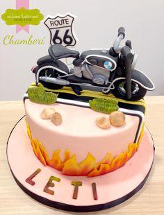 Tarta de cumpleaños, moto, ruta 66 (motorbike cake)
