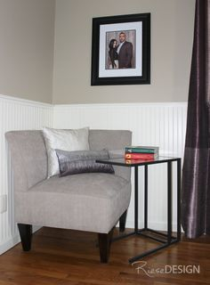 Reading area in bedroom with a corner chair. Benjamin Moore - Bennington gray used with & 9 best Bedroom - Riese Design images on Pinterest | Candice olson ...
