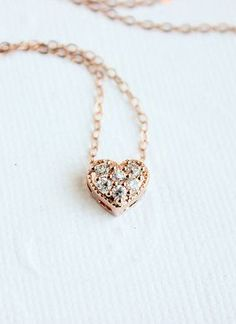 Rose Gold Necklace Rose Gold Heart Necklace Rose