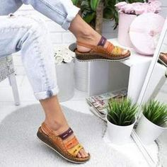 Sandals Style: Casual sandals Heel type: Low Heel Occasions: Work, Daily,Holiday Sex: Female Style: Soft, Casual Super Soft Shoes Give You Visible Change Simple Sandals, Wedge Sandals, Shoes Sandals, Summer Sandals, Shoe Boots, Wedge Shoes, Grey Sandals, Summer Wedges, Boho Sandals