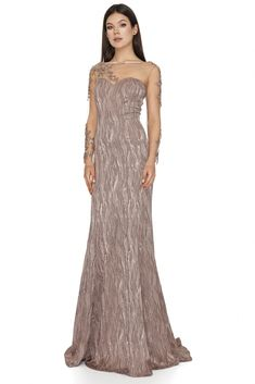Make it a night for romance in this nude long dress with sleeves by Vero Milano! Fringed garlands of tonal beading adorn the sheer, ballet sleeves, sweetheart lining and a glamorous train is exquisite! This romantic evening dress with sleeves is designed to be fitted, we recommend that you buy to your size. Nude Long Dresses, Evening Dresses With Sleeves, Romantic Evening, Luxury Dress, Designer Gowns, Garlands, Dress Making, Best Sellers, Dresses Online