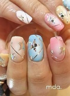 Gold & Silver Art On Pastel Nails ♡¸.✿´´¯`•.¸¸. ི♥ྀ.