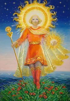 Syn Swaroga i Dabogi. Włada Słońcem, skazany na wieczne przemierzanie Nieboskłonu. Pan Ognia Niebiańskiego, Pan Ognia Ofiarnego i Władca Słońca, Pan Słońca, Nosiciel Złotej Tarczy, Pan Miesięcy