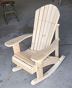 These Adirondack chair plans will help you build an outdoor furniture set that becomes the centerpiece of your backyard . It's a good thing that so many plastic patio chairs are designed to stack, and the aluminum ones fold up flat. This project is the la Adirondack Rocking Chair, Rocking Chair Plans, Adirondack Chair Plans, Outdoor Rocking Chairs, Outdoor Lounge, Pallet Furniture, Rustic Furniture, Outdoor Furniture Sets, Antique Furniture
