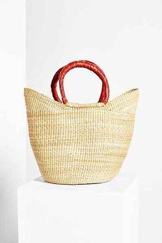 Urban Renewal Vintage Leather-Handle Straw Tote Bag