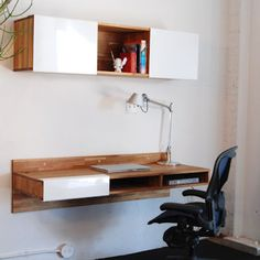 Floating desk - could you make one that slides / collapes back into the wall...?