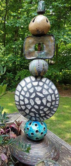 raku totem pieces by Susan Stover
