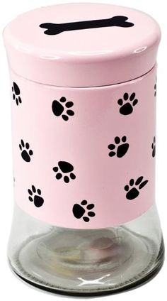 Housewares International Glass Pet Treats Container with Lid, Pink with Black Paw Print, 34-Ounce -- Additional details at the pin image, click it  : Dog food container