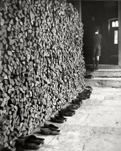 Robert Doisneau, Sondersdorf - les sabots devant l'école  Alsace,1945 on ArtStack #robert-doisneau #art