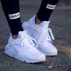 Nike White Huarache Worn once only--- no flaws. Brand new condition. No box included. Size 6 Nike Shoes Athletic Shoes