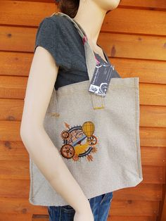 steampunk globe handmade embroidered tote