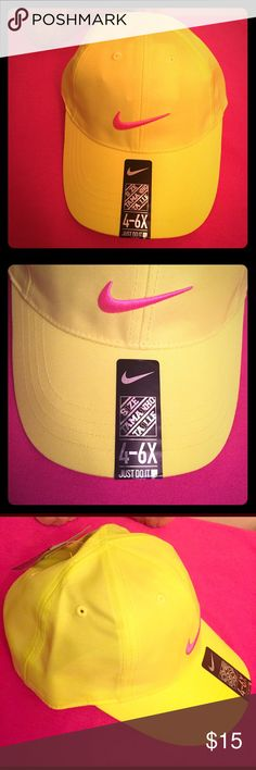🆕 ONLY 1! Nike Kids Cap Authentic Nike Kids Cap. Girls. Also suitable for Boys. 4-6X. Volt (Yellow & Green Combo) with Embroidered Hot Pink Swoosh on the Front. Also on the Adjustable Back. Vented. 100% Polyester. Brand New. Excellent Condition. No Trades. Nike Accessories Hats