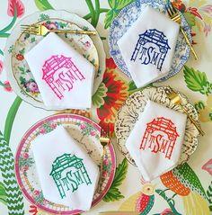 10 Things I'm Loving On Etsy - Emily colorful pagoda monogram napkins