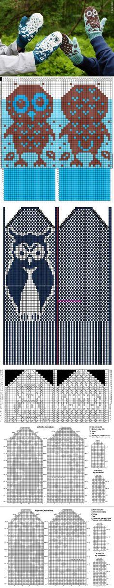 Варежки с совами (подборка схем) / Вязание / ВТОРАЯ УЛИЦА | Головные уборы,шарфы. Варежки | Постила