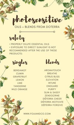 This is a great post on Essential Oils you shouldn't use in the sun: Photosensitive Essential Oils Diluting Essential Oils, List Of Essential Oils, Therapeutic Essential Oils, Bergamot Essential Oil, Grapefruit Essential Oil, Essential Oil Blends, Zendocrine Doterra, Doterra Motivate, Slim And Sassy