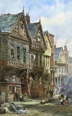 Louise Rayner (English, 1832 - Watergate Street, Chester (via Rowles Fine Art) Vila Medieval, Medieval Life, Medieval Fantasy, Fantasy City, Fantasy Places, Fantasy World, Victorian Paintings, Victorian Art, Victorian Street