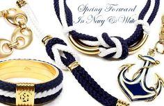 Navy, White & Gold nautical jewelry