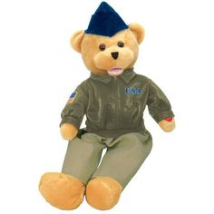 """American Hero Airforce Ships Overseas - OUT OF STOCK Show your hero how proud you are of him with this unique plush United States Air Force bear. His Head sways and mouth moves while singing, """"The U. Air Force Uniforms, Heroes United, Air Force Mom, Thing 1, Plush Animals, Stuffed Animals, Pilot, Singing, Toys"""