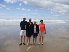 Mr & Mrs Aitken and Mr & Mrs Beuls on a leisurely walk at Ocean Beach in Hawke's Bay. #NewZealand #Luxury #Travel