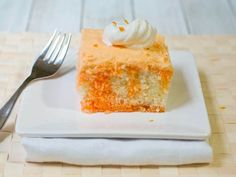 This melt-in-your-mouth poke cake is inspired by orangesicles, a summer fave! The velvety frosting adds a pop of bright color and yummy orange flavor. Reduce calories by substituting sugar-free gelatin and pudding, low-fat milk and reduced-fat whipped topping.